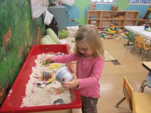 moon dough in the sensory table