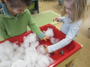 a frozen pond and snow in the sensory table