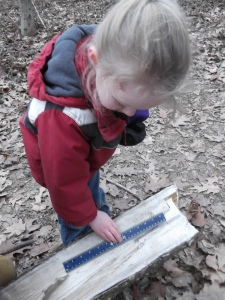 measuring holes after drilling into log