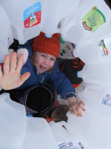 inside our milk jug igloo