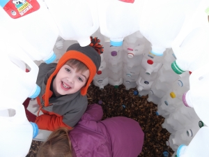 peek-a-boo in the milk jug igloo