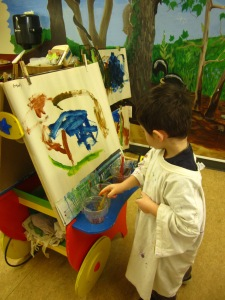 frog easel painting