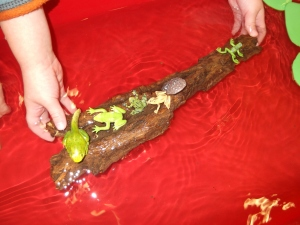 sensory table with frogs