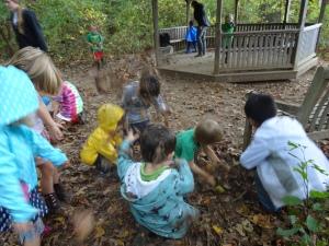 exploring wet fall leaves