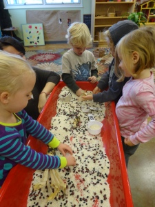 fall seeds in the sensory table