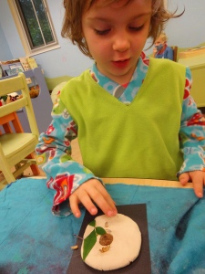 making a salt dough relief with seeds