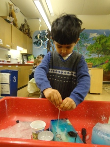 Child uses pipettes and salt to melt ice in sensory table.