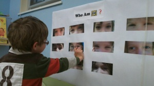 """Who am I?"" eyes guessing game"